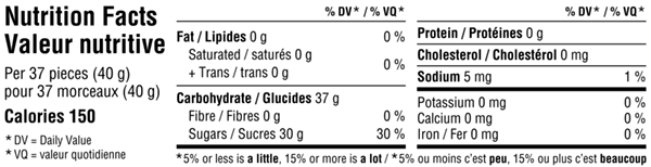 Gourmet Jelly Beans 150g Nutrition Facts Table Image
