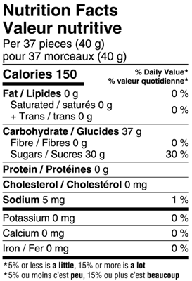 Gourmet Sour Jelly Beans 150g Nutrition Facts Table Image