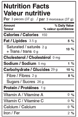 Dark Chocolate Mint Creams 180g Nutrition Facts Table Image