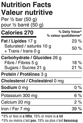 Organic 57% Dark Chocolate Forest Fruits Bar 100g Nutrition Facts Table Image