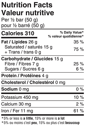 Organic 85% Extra Dark Chocolate Bar 100g Nutrition Facts Table Image