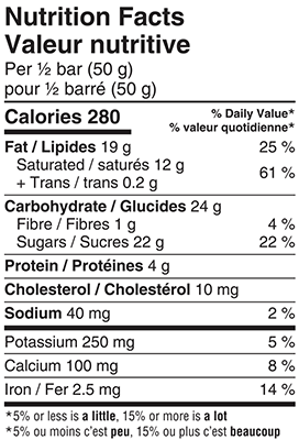 Organic Milk Chocolate Bar 100g Nutrition Facts Table Image