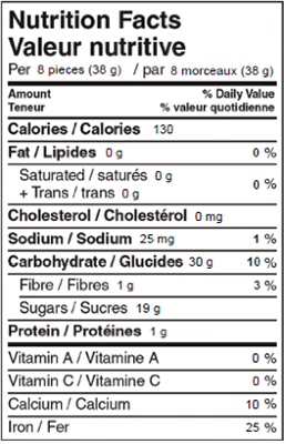Pontefract Cakes 200g Nutrition Facts Table Image