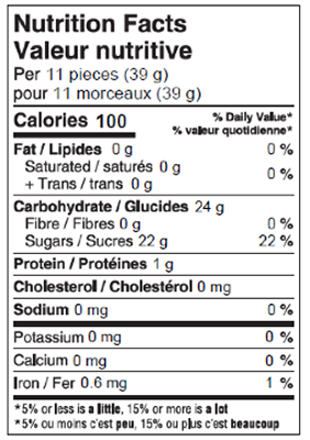Samesorts 200g Nutrition Facts Table Image