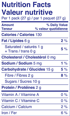 Sesame 3 Pack 81g Nutrition Facts Table Image