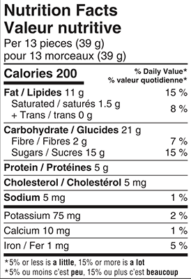 Waterbridge Sesame Minis 150g Nutrition Facts Table Image