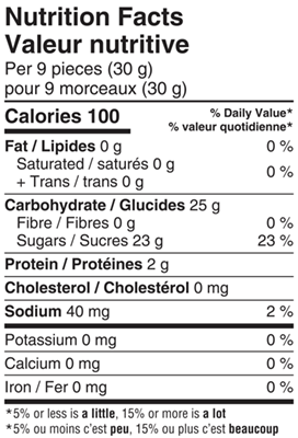 Sour Strawberry Vanilla Marshmallows 125g Nutrition Facts Table Image