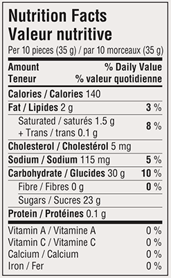Butterscotch Candy Travel Tin 175g Nutrition Facts Table Image