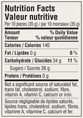 Wildberry Candy Travel Tin 175g Nutrition Facts Table Image
