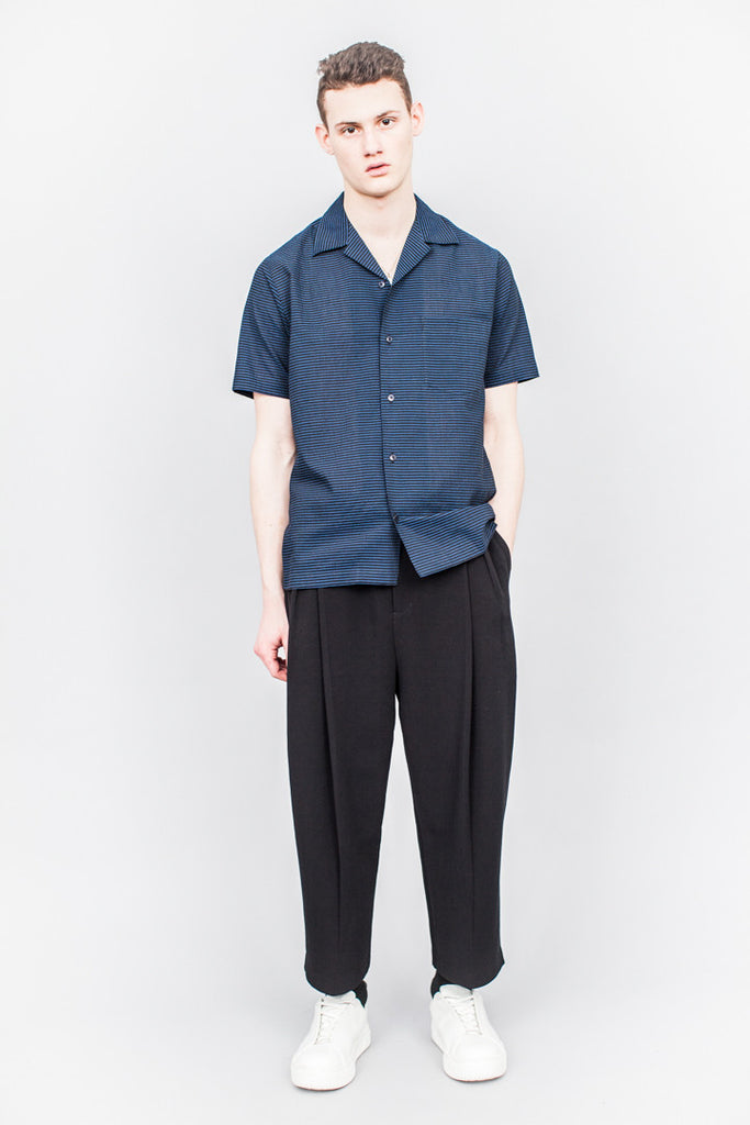 CMMN SWDN Duncan Short Sleeve Shirt Navy Stripe - SOLD OUT