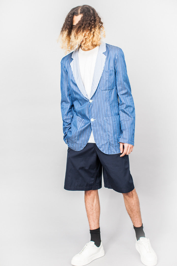 Comme Des Garçons SHIRT Double Face Unstructured Jacket Blue Stripe