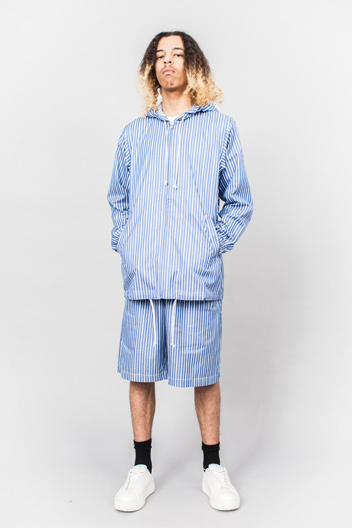 Comme Des Garçons SHIRT boys Hooded Zip Jacket Blue/White Stripe