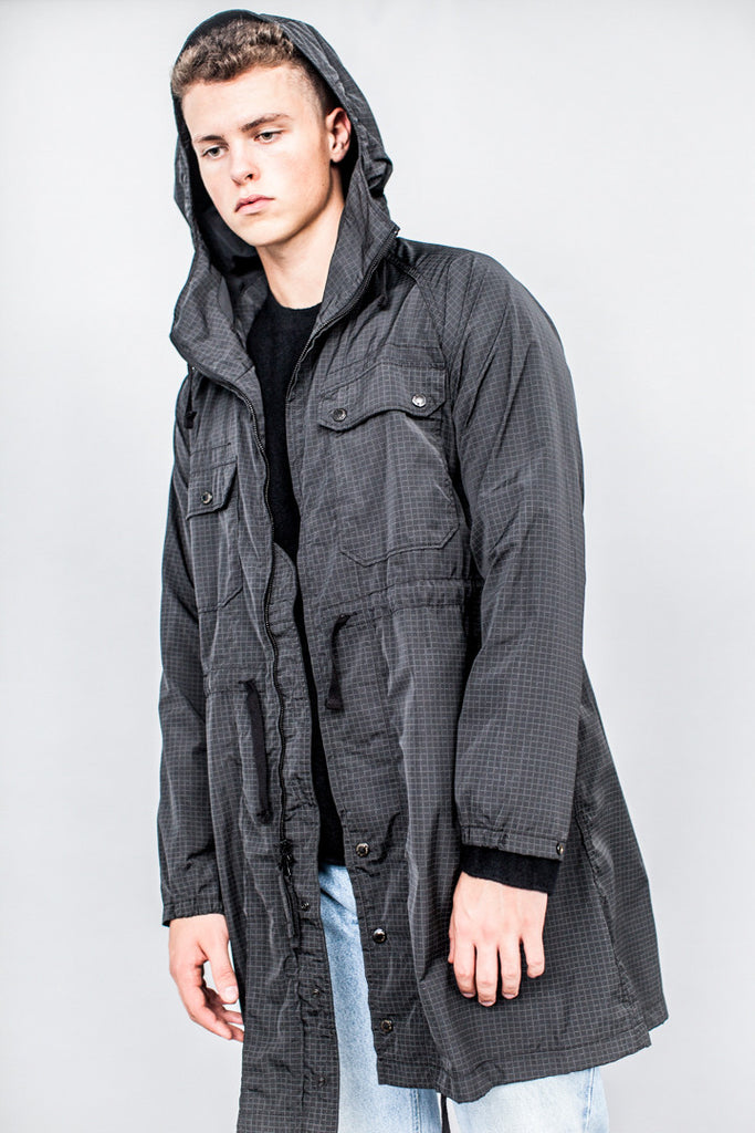 Engineered Garments Cagoul Black Graph Check Microfiber