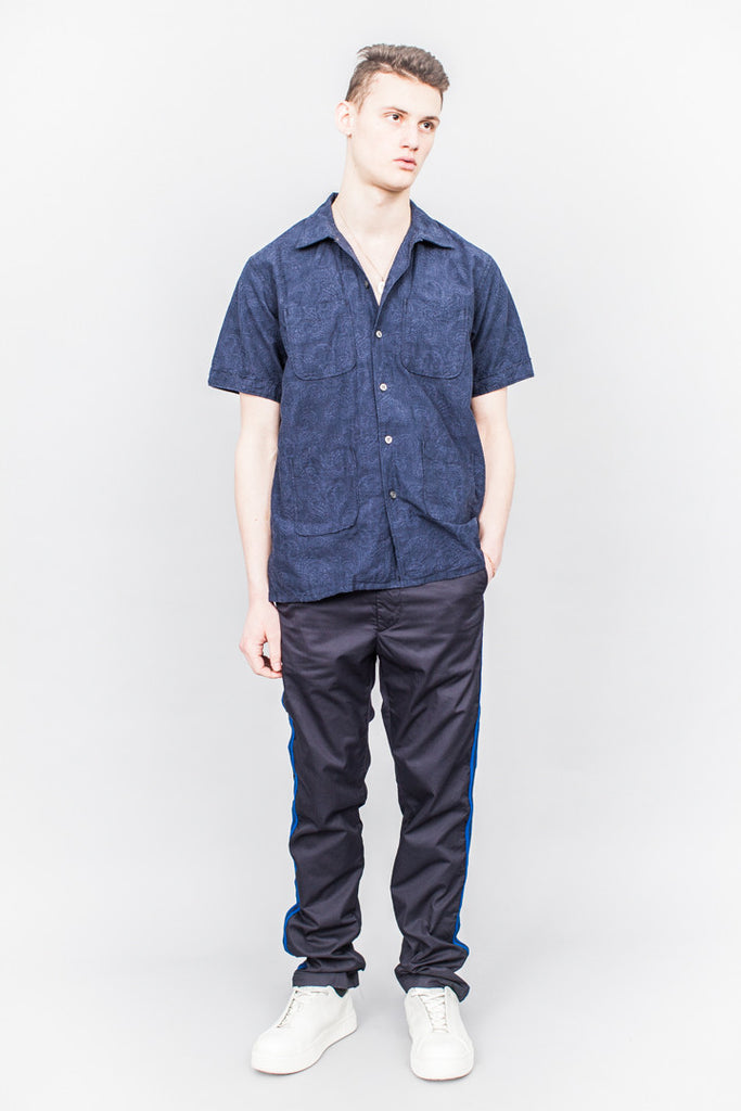 Engineered Garments Camp Shirt Dk. Navy Paisley Jacquard - SOLD OUT