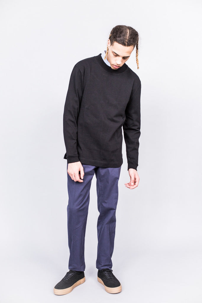 MHL Basic Wide Crew Neck Matte Jersey Black