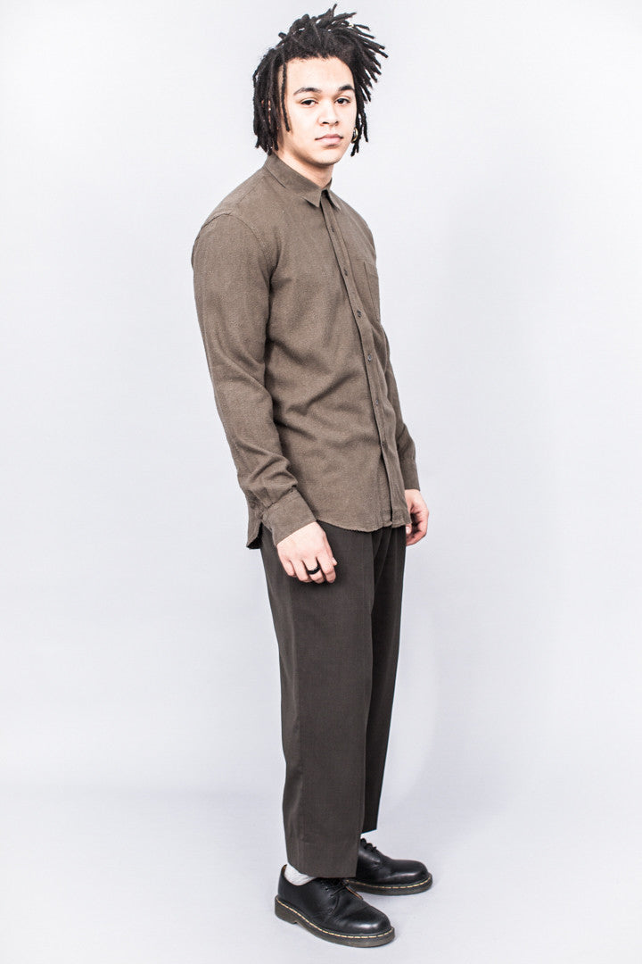 Our Legacy Classic Shirt Dk. Olive Silk Noil - SOLD OUT