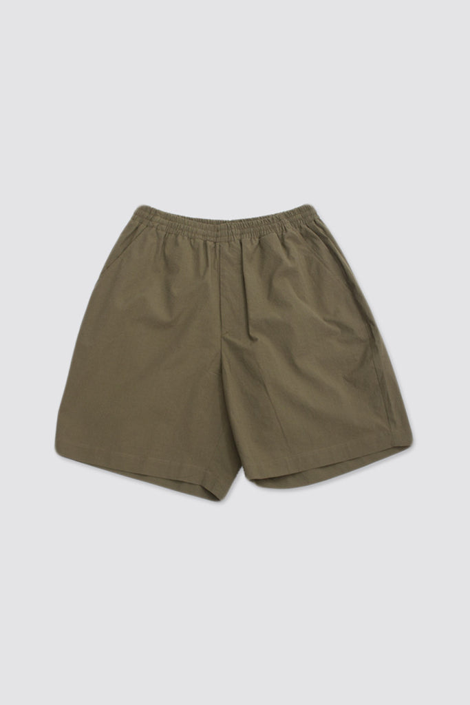 Très Bien Camp Shorts Army Green Seersucker