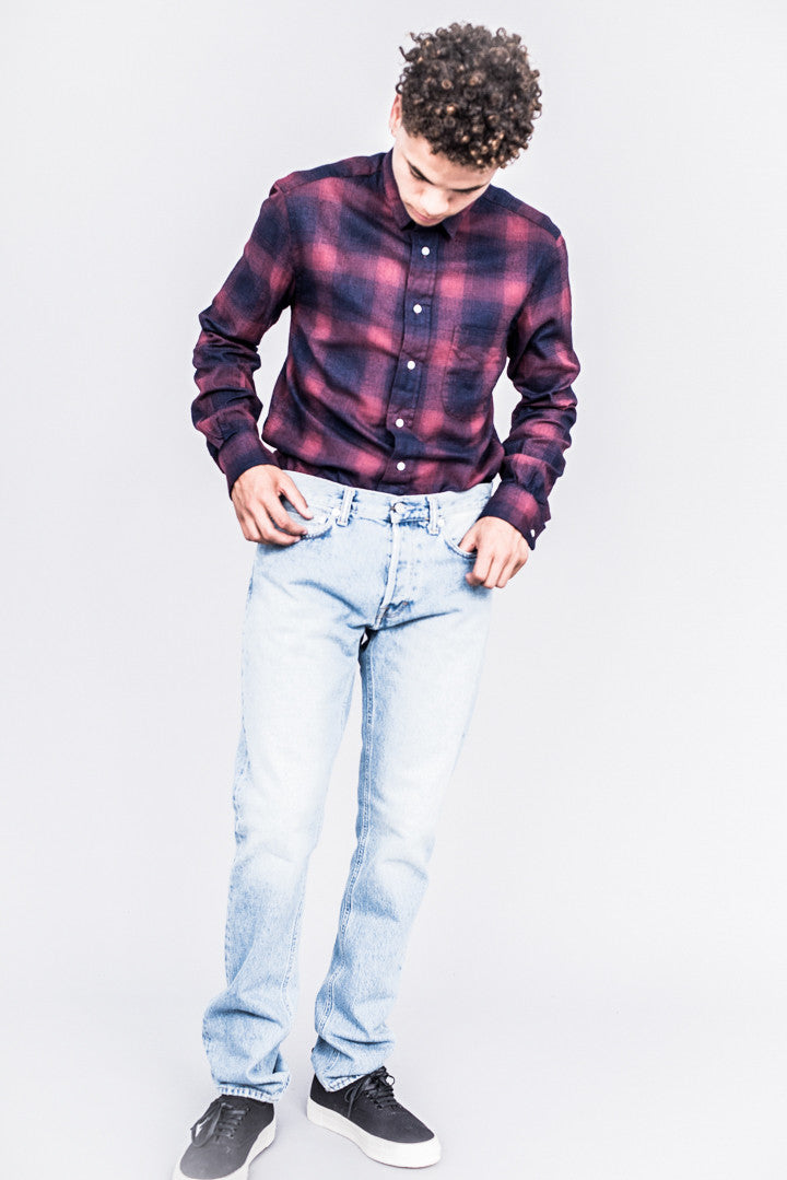 Gitman Bros. Vintage Indigo Based Burgundy Flannel Shirt