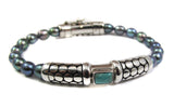 Turquoise set in Sterling Silver and iridescent grey pearl bracelet - Agabhumi