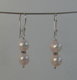 Double pink pearl with silver beads