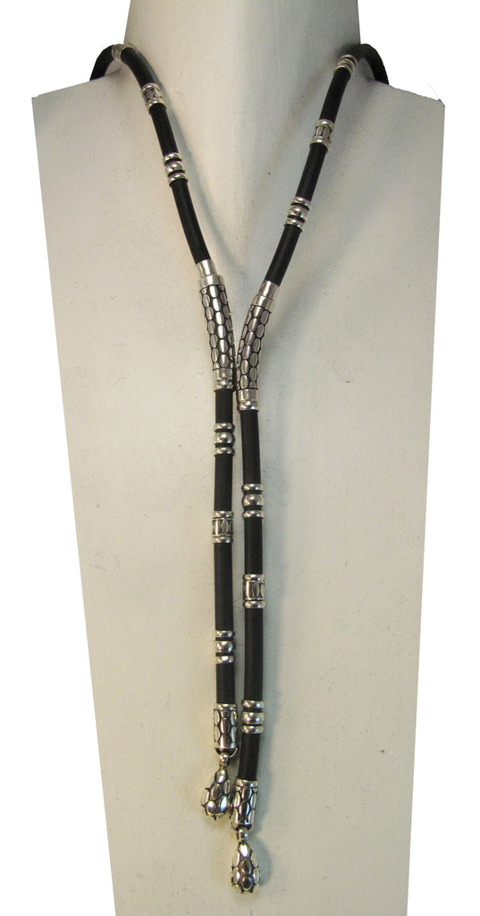 Elongated silver dot rubber lariat