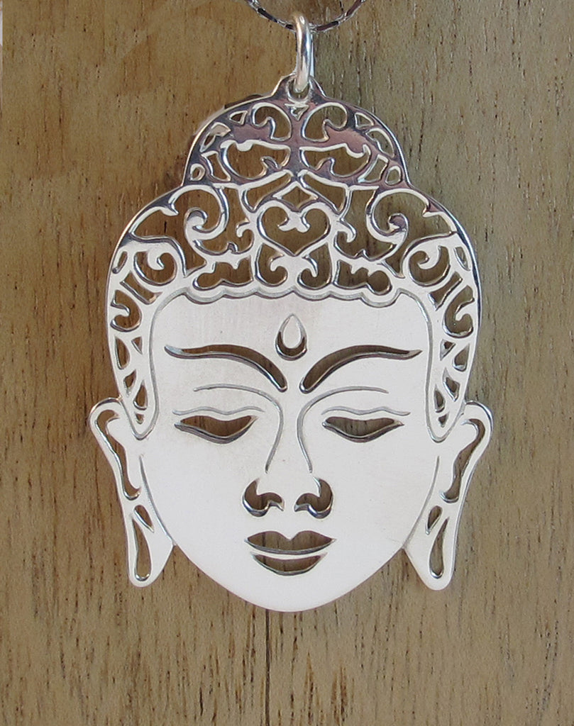 Buddha's face sterling silver pendant - Agabhumi