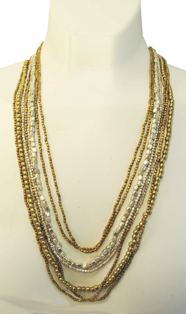 Gold and silver thick and thin metal beads - Agabhumi - Where Fashion Happens First