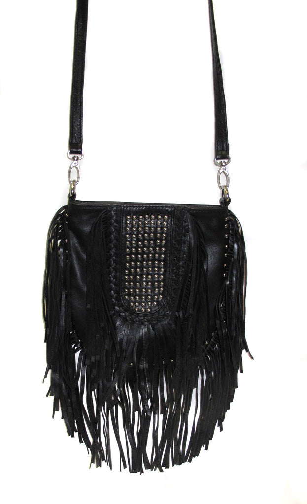 Indian ocean fringe leather handbag