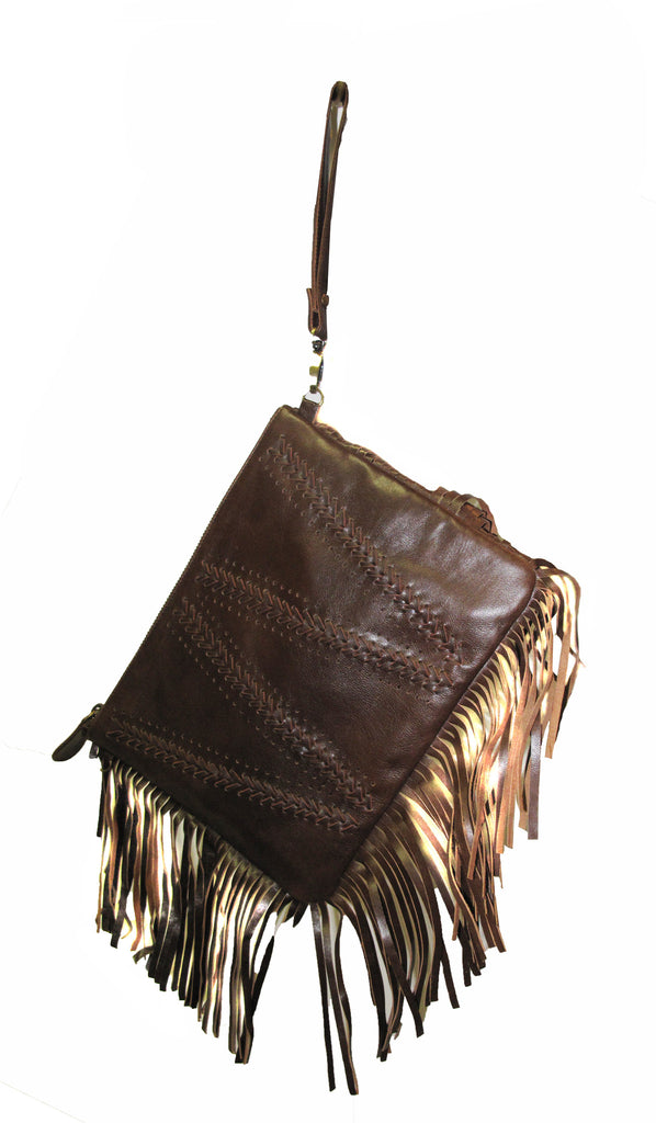 Braided and fringed leather handbag