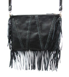Braided and fringed leather handbag - Agabhumi