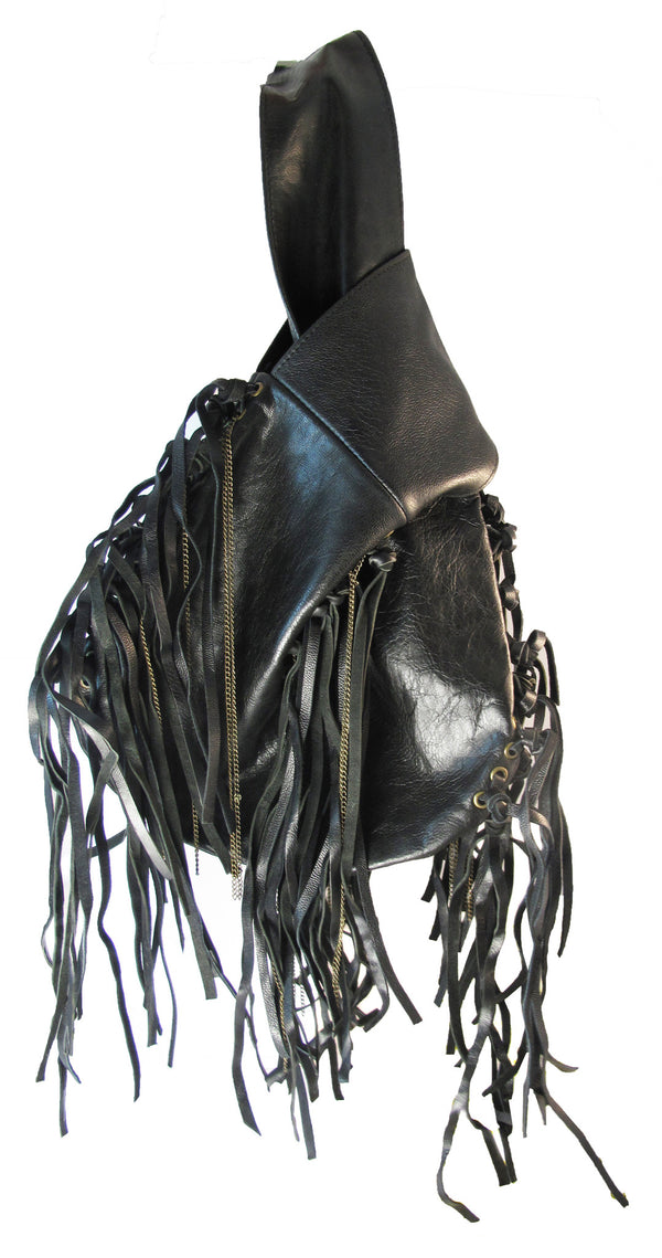 Loop de Loop fringed wrist bag in leather - Agabhumi