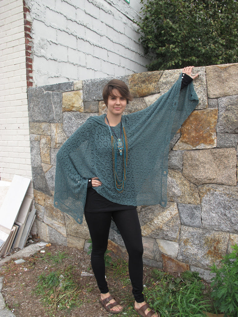 Fine knit poncho with hood
