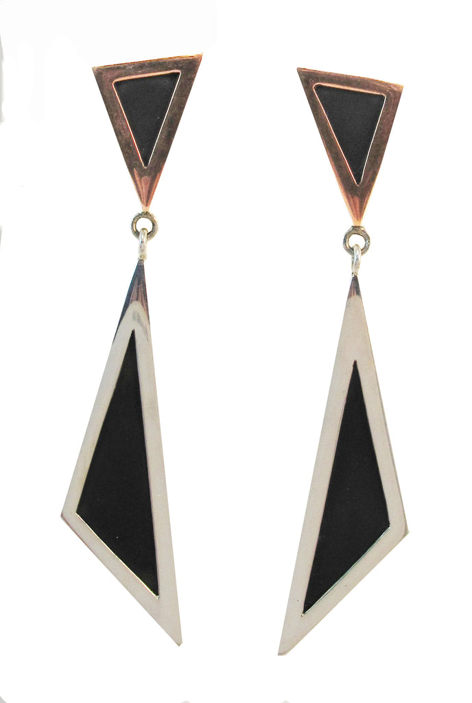 Double triangle copper/silver/onyx stud earring - Agabhumi
