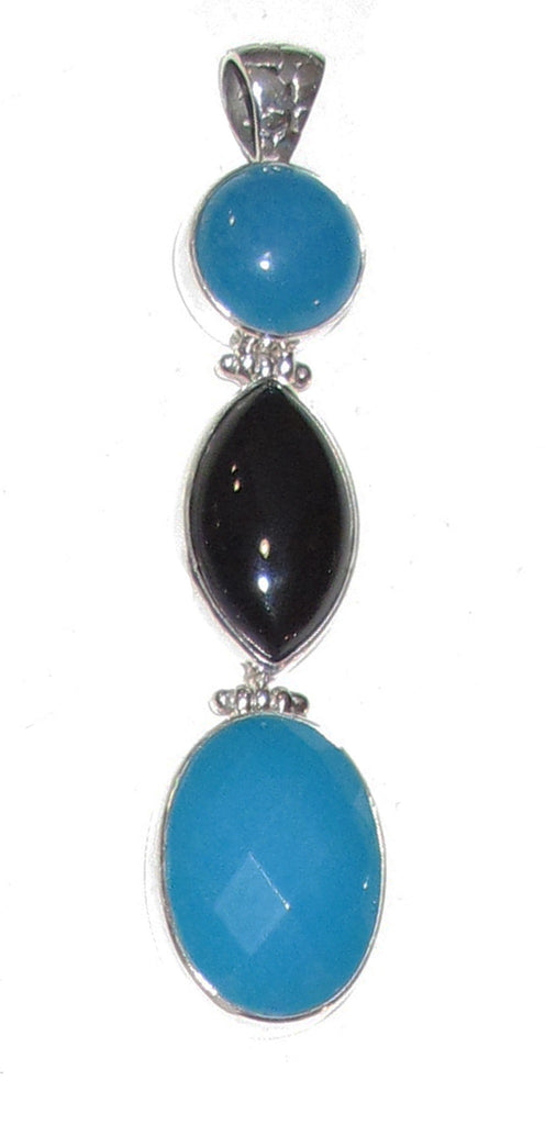 Blue obsidian with onyx triple - Agabhumi