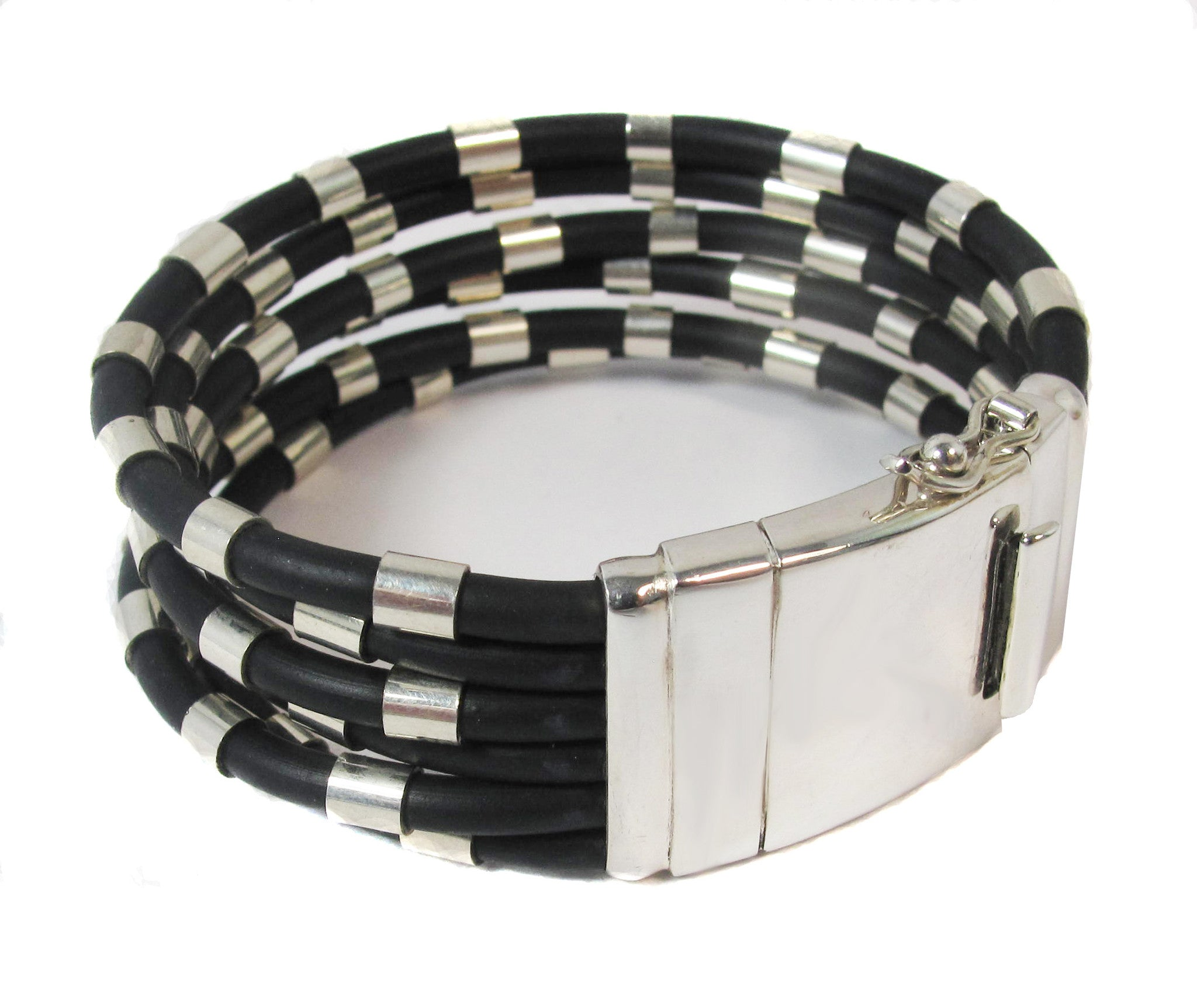 6 strand silver on rubber bracelet band - Agabhumi