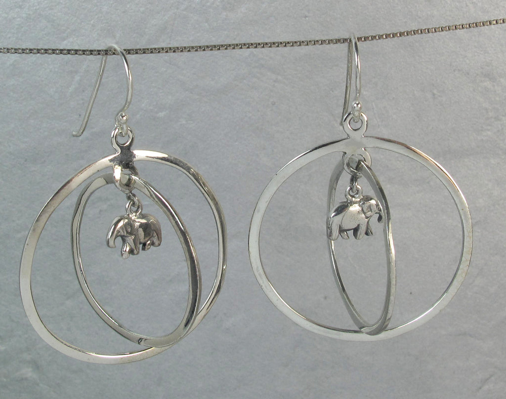 Double silver ring with baby elephant - Agabhumi