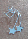Double star silver ear cuff