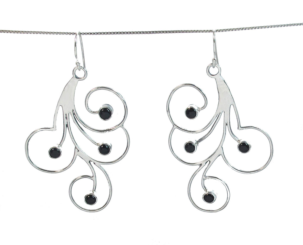 Swirls with Pearls or Onyx Earrings
