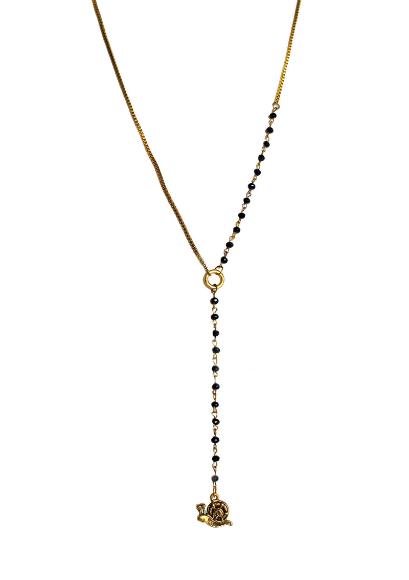 Gold tone snail necklace with blue beads