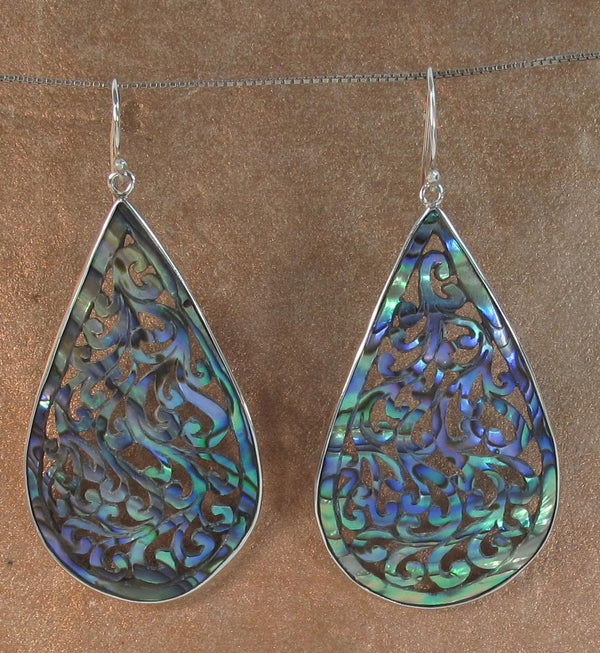 Jungle Vine Carved Paua Earrings - Agabhumi