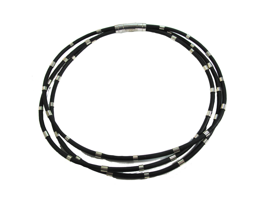 Triple Band of Rubber & Silver Necklace