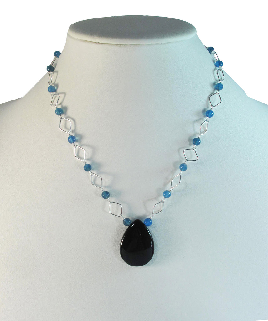 Onyx teardrop with blue agate on silver necklace