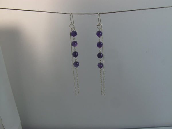 Amethyst Beads sterling chain earrings - Agabhumi