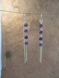 Amethyst Beads sterling chain earrings