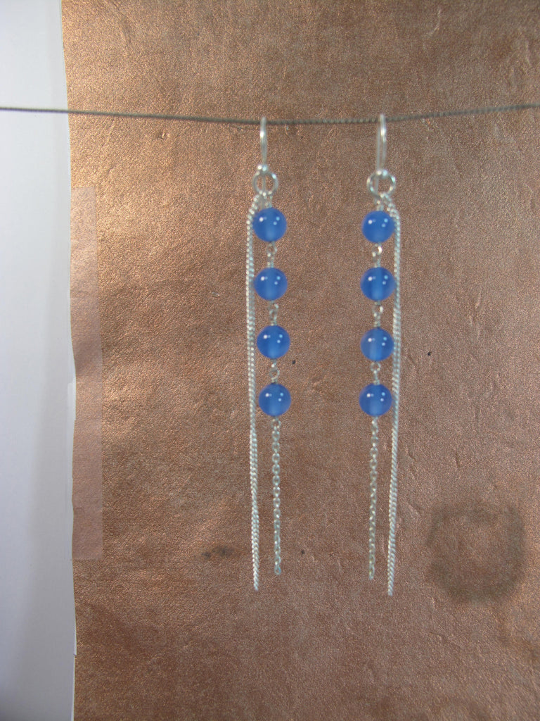 Four blue agate sterling chain earrings
