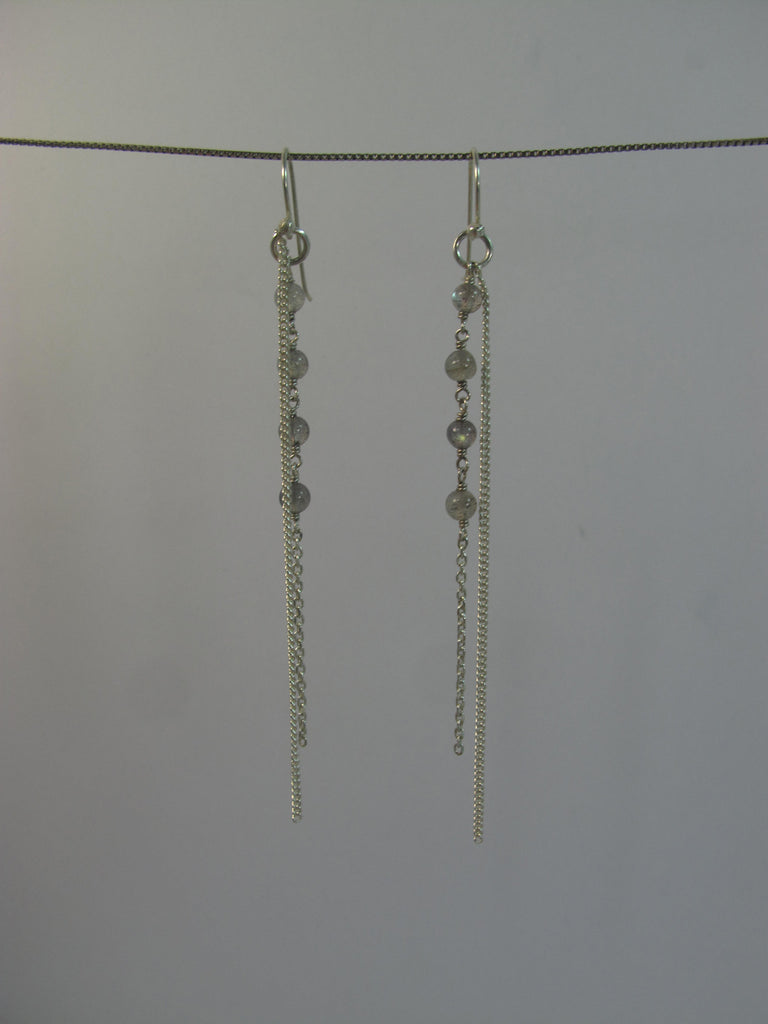 Labradorite beads with sterling silver chain earring