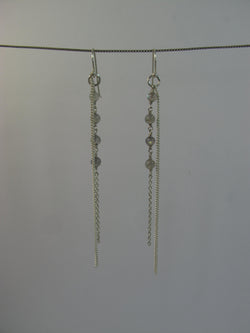 Labradorite beads with sterling silver chain earring - Agabhumi