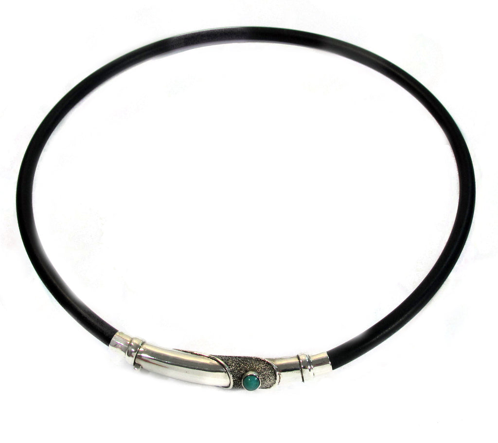 Silver with turquoise on rubber necklace