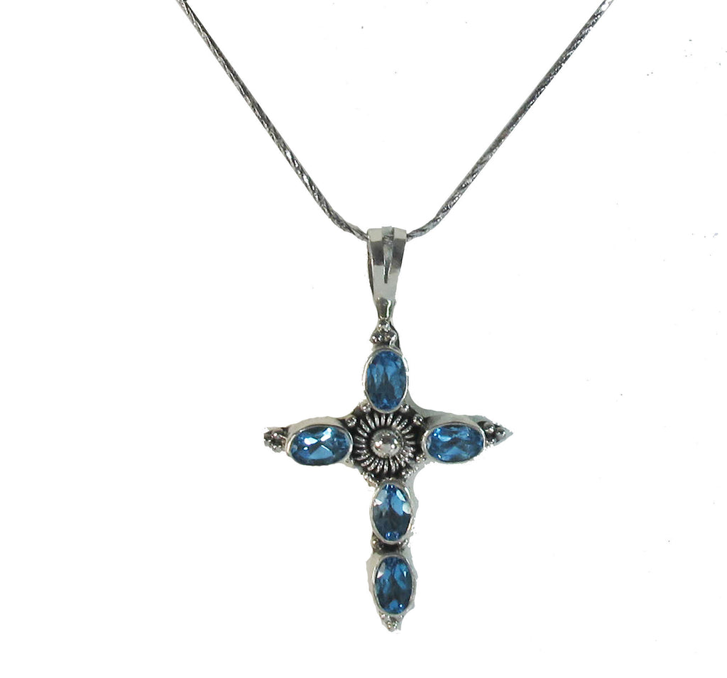 Sterling Silver Cross with Blue Crystal Pendant