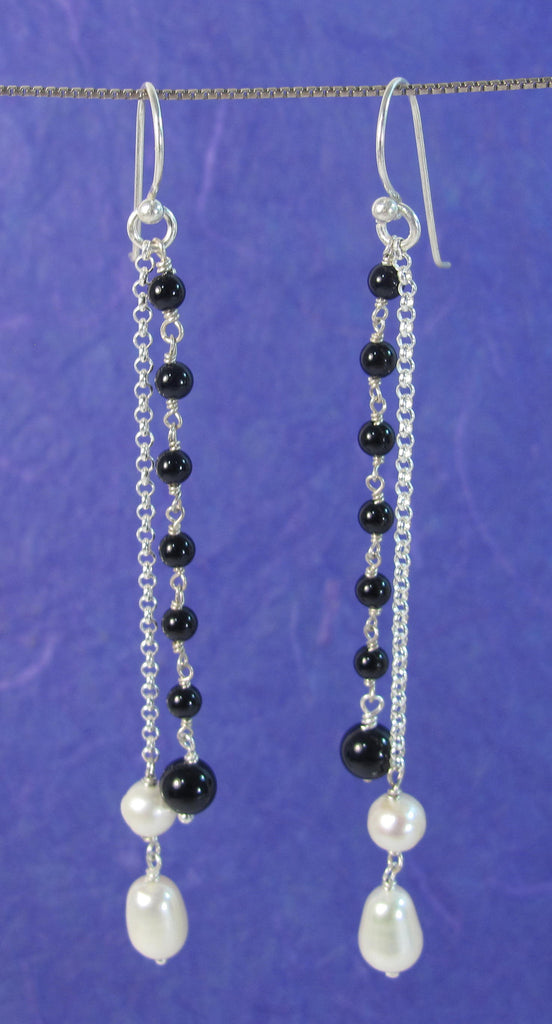 Onyx & white pearls sterling silver chains Earrings